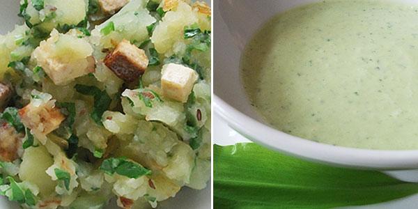 Šťouchané brambory a dresing s medvědím česnekem