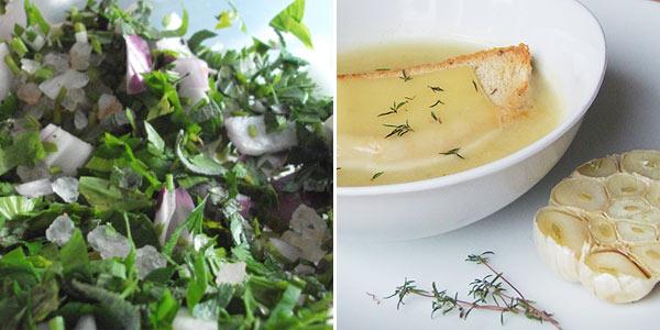 Domácí zeleninový bujon v soli, česnečka z pečeného česneku