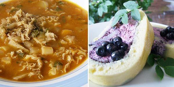 Dršťková polévka z hlívy nebo kotrče, borůvková roláda bezlepková