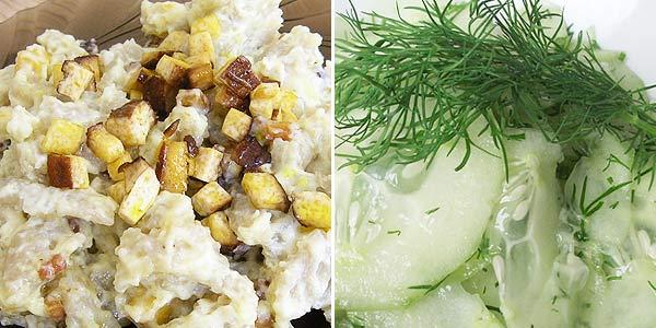 Halušky z Jizerky, škvarečky z uzeného tofu, okurkový salát s Balsamicem