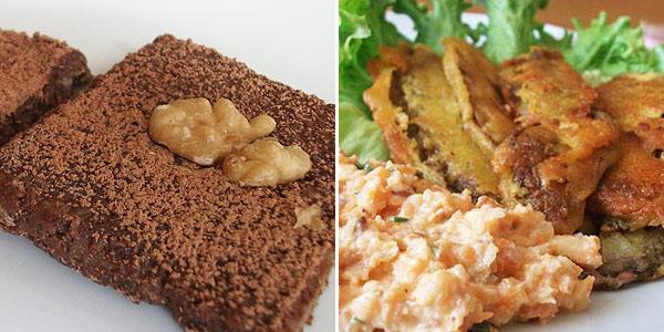 Houbové řízečky v Hrašce, semínkový salát, banánové řezy nepečené