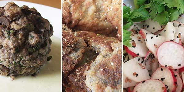 Houbový knedlík s křenovou omáčkou, bedly v semínkovém trojobalu se salátem