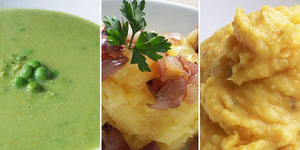 Hrášková polévka, kaše na dva způsoby a karamelizovaná šalotka
