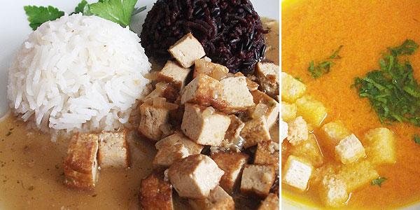 Uzené tofu a'la ledvinky, mrkvová polévka se zázvorem