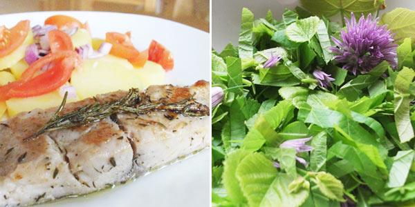 Ryby na bylinkách, lipový salát