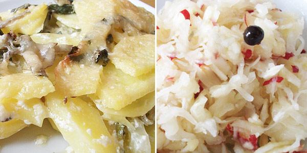Pečené brambory s mangoldem, zelný křenový salát