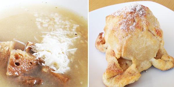 Kroupová polévka s křenem, jablka v tvarohovém županu
