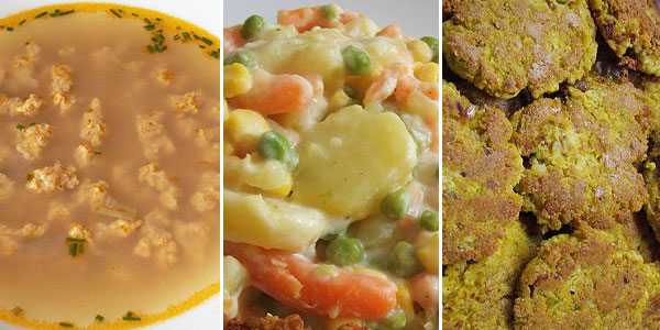 Tofu karbanátek, polévka s bezlepkovými droždovými knedlíčky, salát na kyselo