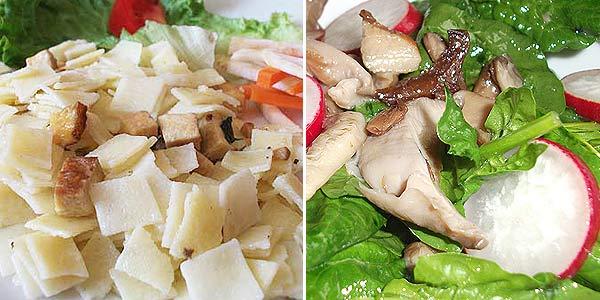 Tofuflíčky, salát s hlívou ústřičnou